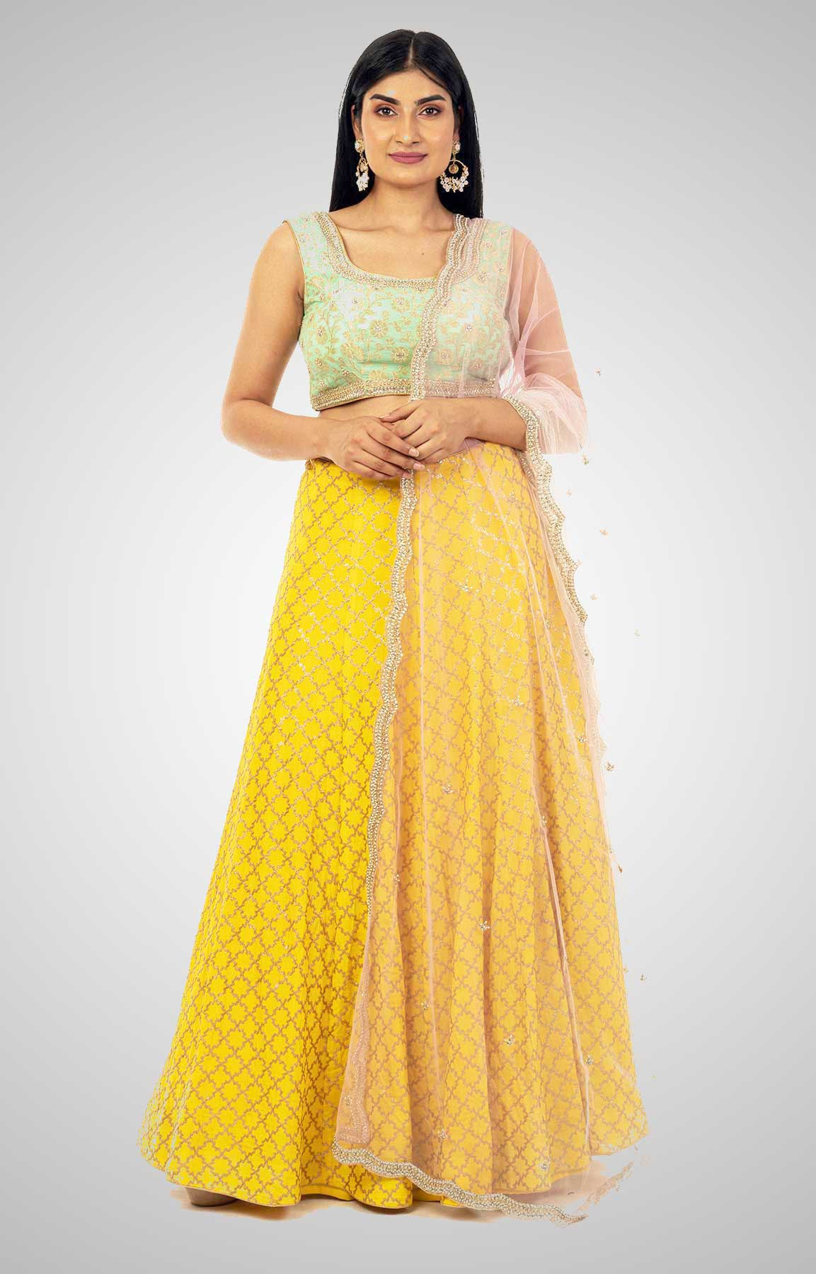 Yellow And Dusty Aqua Crepe Lehenga With Embroidered Net Dupatta – Viraaya By Ushnakmals