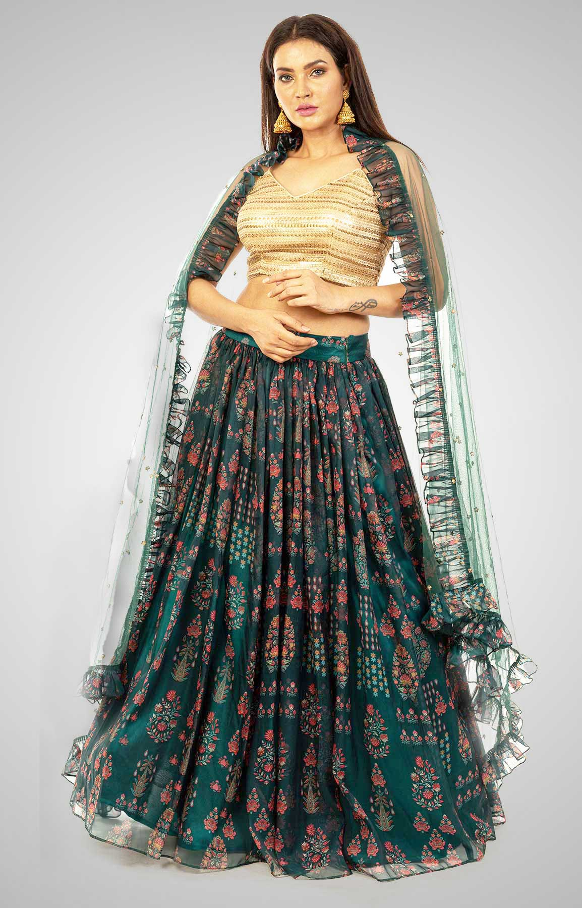 Bottle Green Floral Print Skirt With Sequin Top And Frilled Dupatta – Viraaya By Ushnakmals
