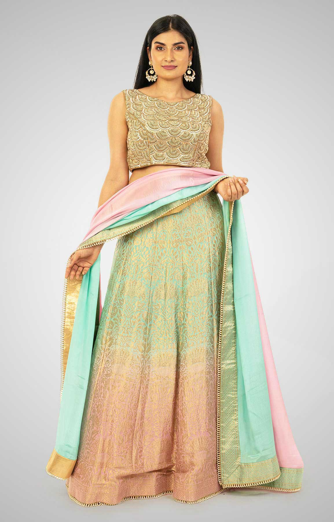 Powder Pink And Aqua Green Banarasi Lehenga Choli With Hand Embroidered Blouse – Viraaya By Ushnakmals