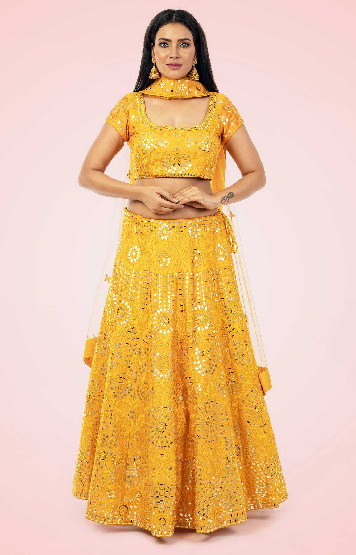 Golden Yellow Lehenga Choli With Leather And Mirror Work – Viraaya By Ushnakmals