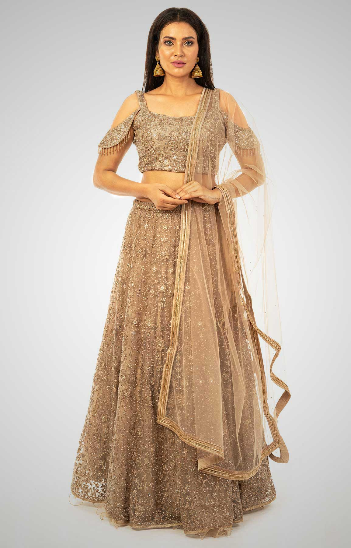 Sepia Net Lehenga  With Heavy Embroidery – Viraaya By Ushnakmals