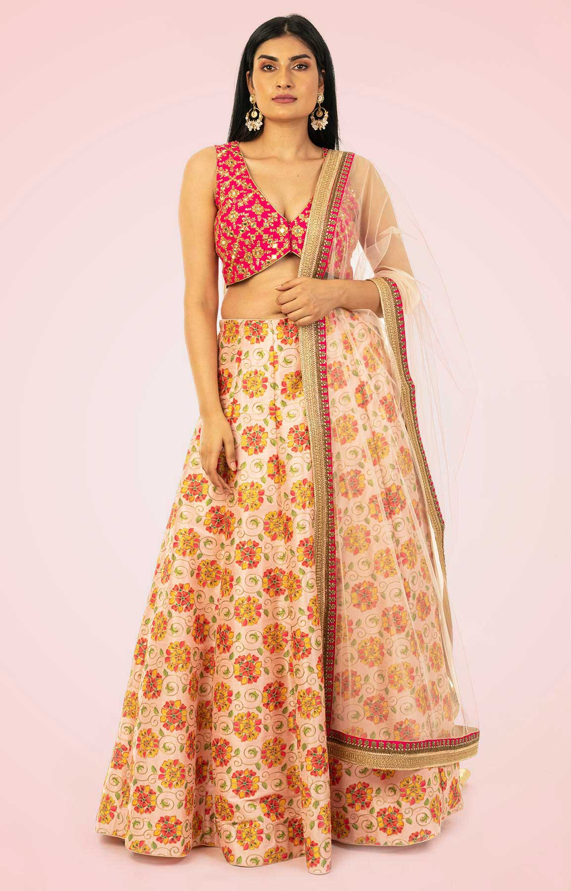 Floral Print Pink Lehenga With Mirror Work Blouse And Beige Colour Dupatta – Viraaya By Ushnakmals