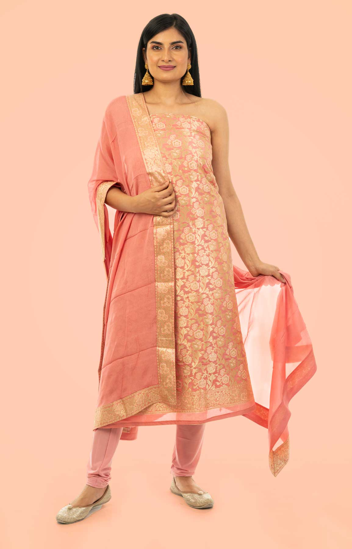 Pink Banarasi Brocade Unstitched Suit With Chiffon Dupatta – Viraaya By Ushnakmals