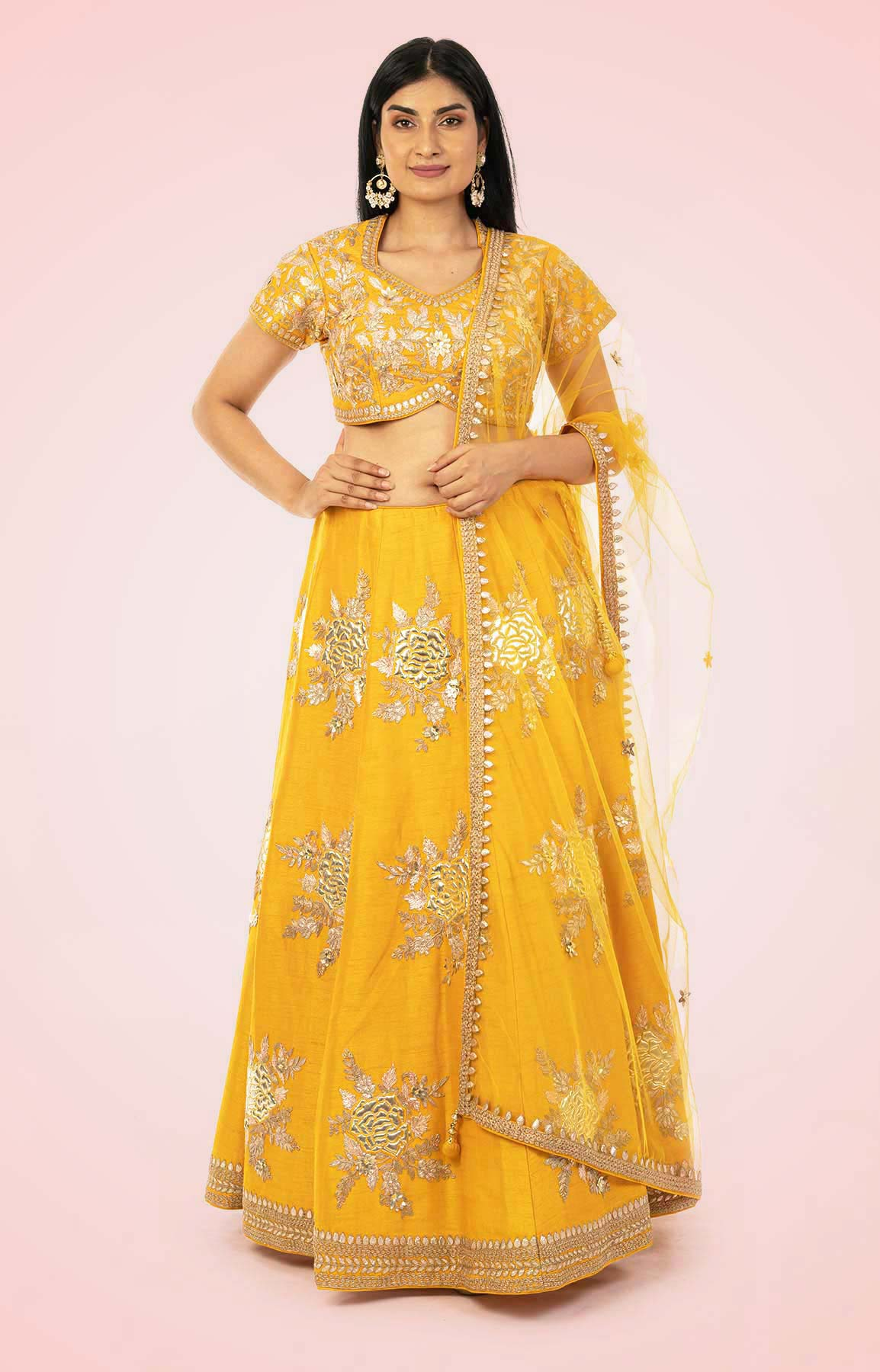 Yellow Raw Silk Lehenga Choli Set With Net Dupatta – Viraaya By Ushnakmals