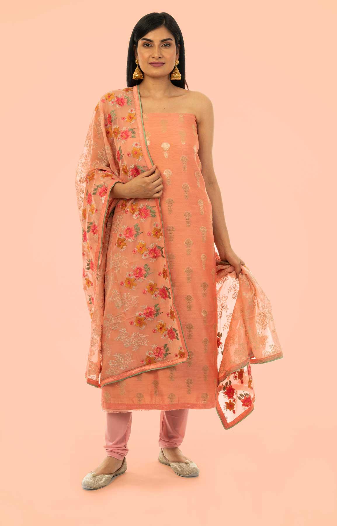 Peach Banarasi Chanderi Suit Fabric With Phulkari Dupatta – Viraaya By Ushnakmals