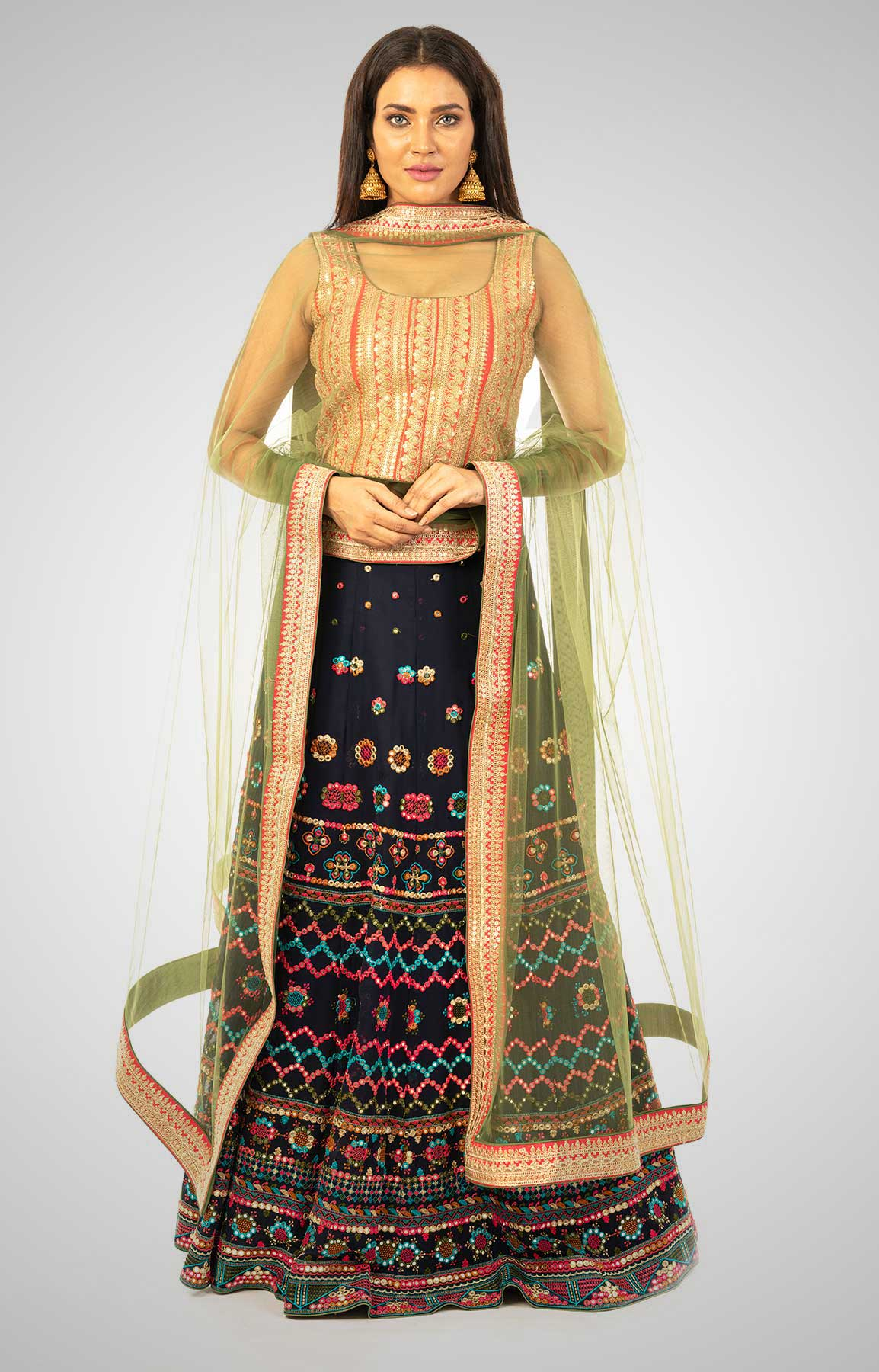 Multi-Coloured Georgette Lehenga With Mirror Work– Viraaya By Ushnakmals