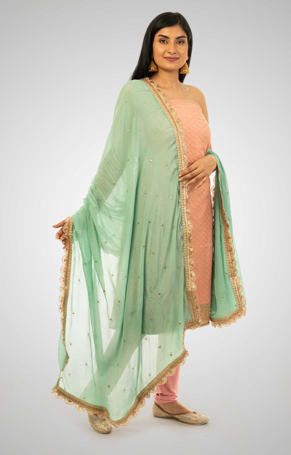 Peach And Sea Green Chanderi Unstitched Suit Fabric With Gotta Patti Border – Viraaya By Ushnakmals
