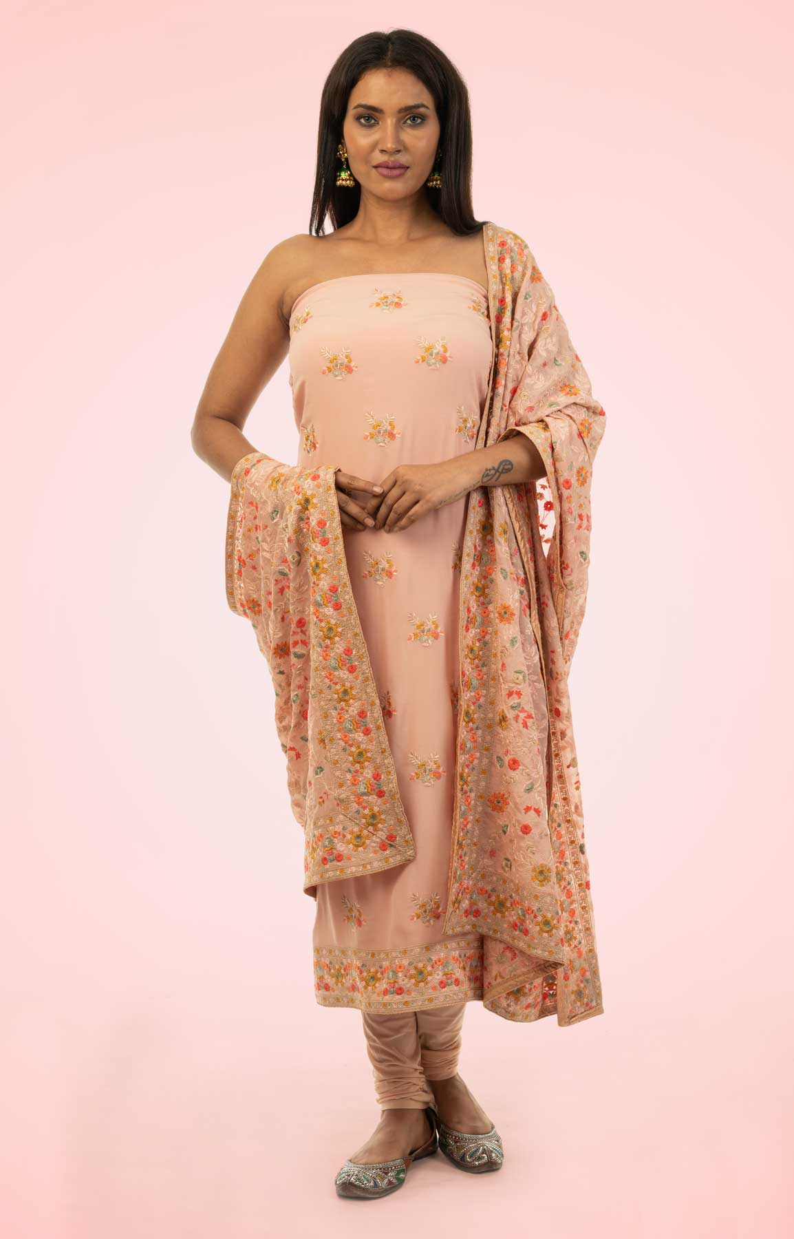 Peach Pearl Crepe Unstitched Suit With Heavy Resham Embroidered Dupatta – Viraaya By Ushnakmals
