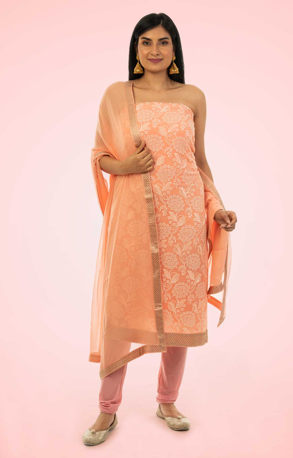 Coral Pink Resham Work Georgette Unstitched Suit Fabric With Crepe Bottom – Viraaya By Ushnakmals