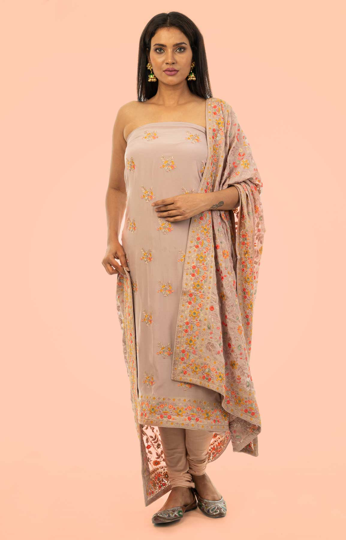 Mauve Coloured Crepe Unstitched Suit With Heavy Resham Embroidered Dupatta – Viraaya By Ushnakmals