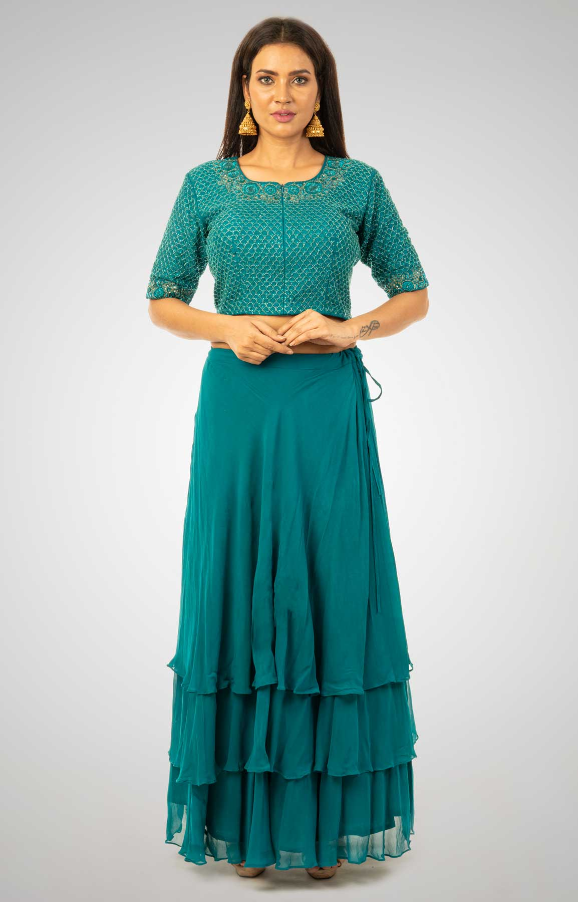 Peacock Tiered Georgette Skirt Matched with Cut Dana Embroidered Crop Top – Viraaya By Ushnakmals