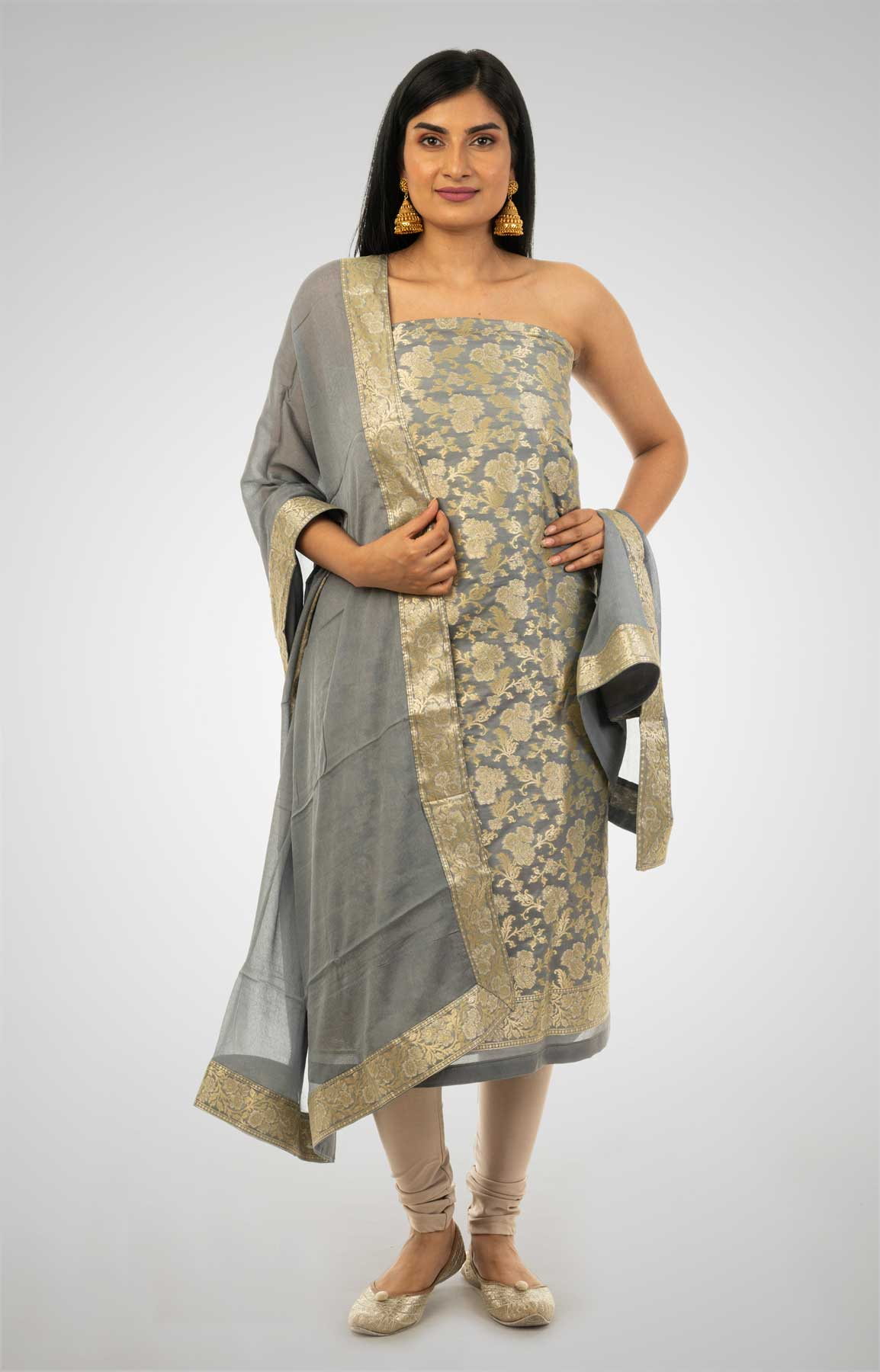 Grey Banarasi Brocade Unstitched Suit With Chiffon Dupatta – Viraaya By Ushnakmals