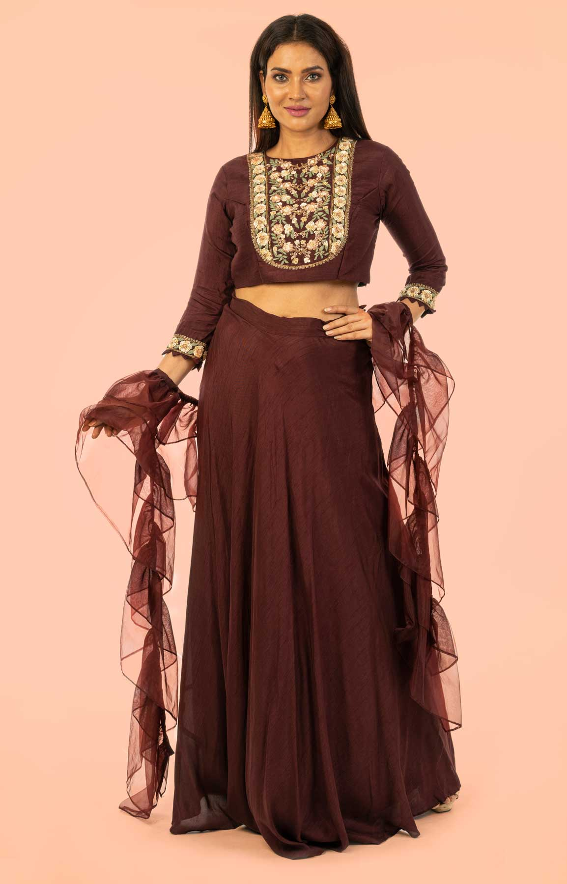 Chocolate Raw Silk Skirt And Top Teamed With Organza Dupatta – Viraaya By Ushnakmals