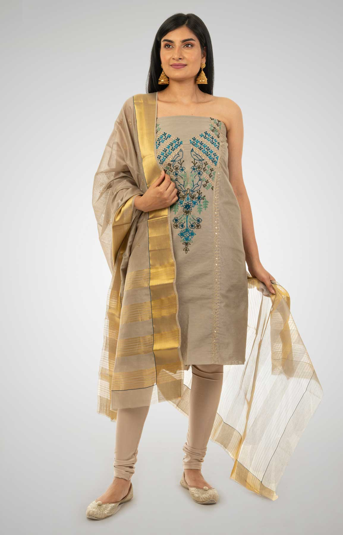 Grey Chanderi Silk Unstitched Suit Fabric With Resham And Zari Aari Work – Viraaya By Ushnakmals