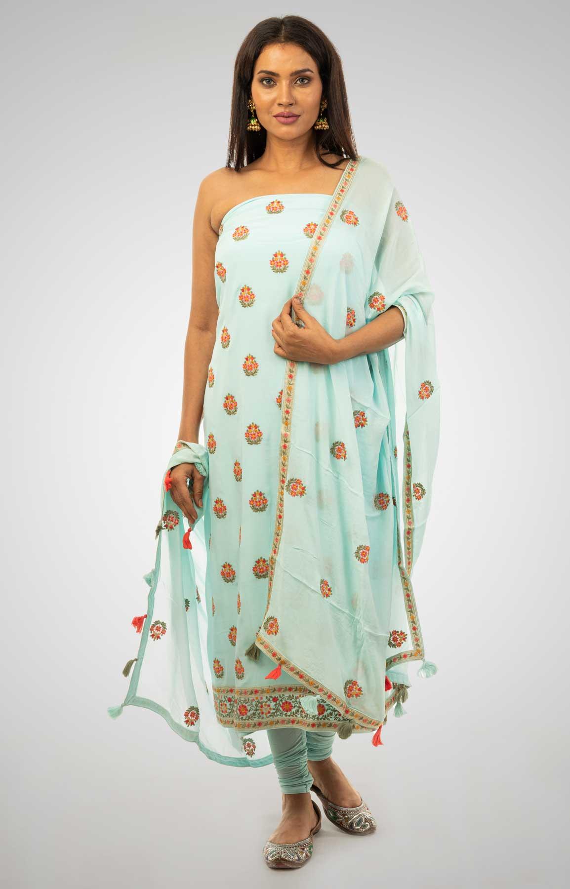 Turquoise Crepe Unstitched Suit With Multi Coloured Resham Work – Viraaya By Ushnakmals