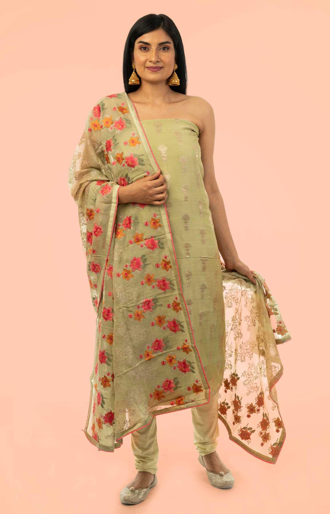 Pista Green Banarasi Chanderi Suit Fabric With Phulkari Dupatta – Viraaya By Ushnakmals – Viraaya By Ushnakmals