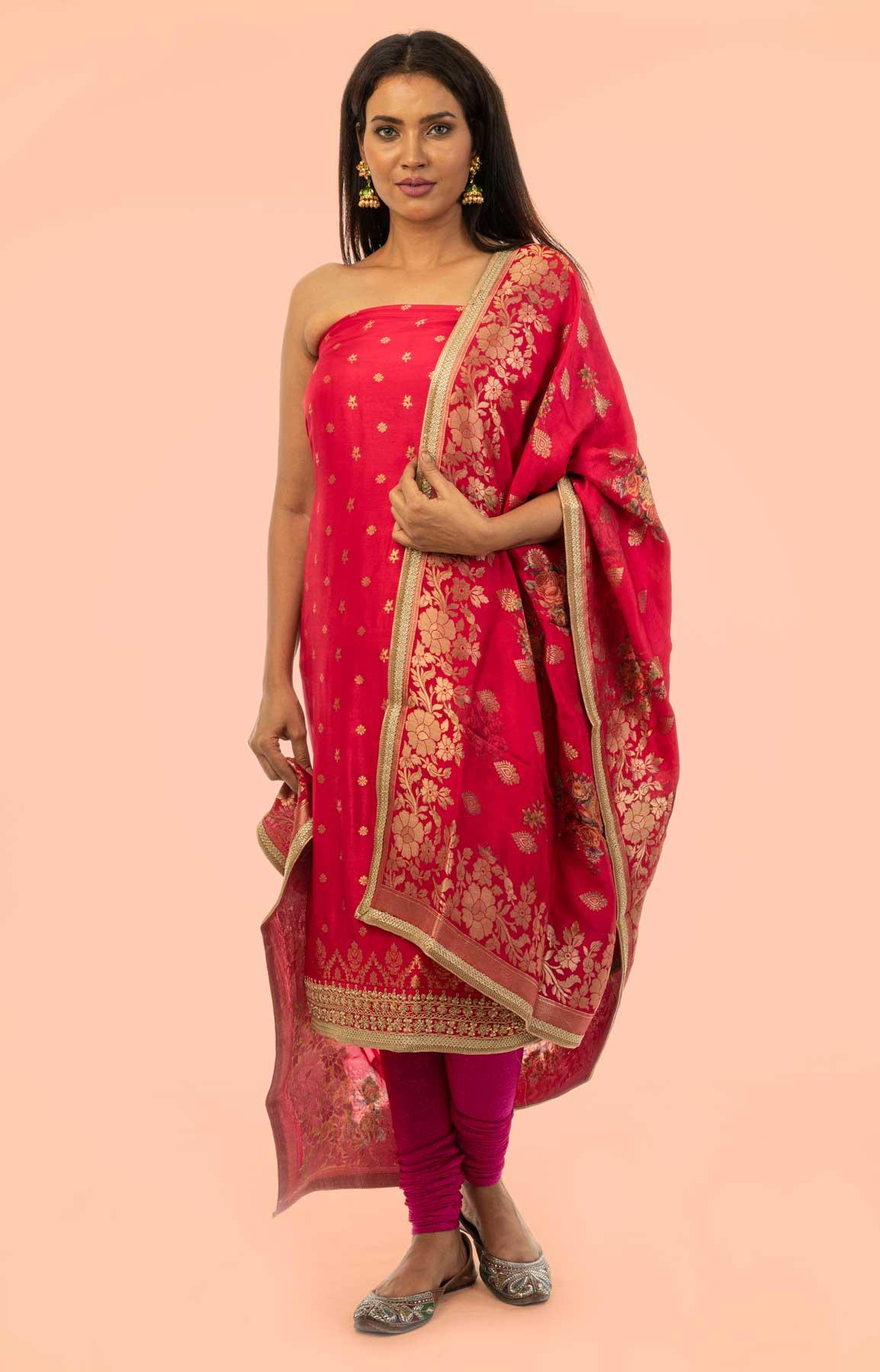 Rani Pink Banarasi Opara Silk Suit Fabric With Zari Work – Viraaya By Ushnakmals – Viraaya By Ushnakmals