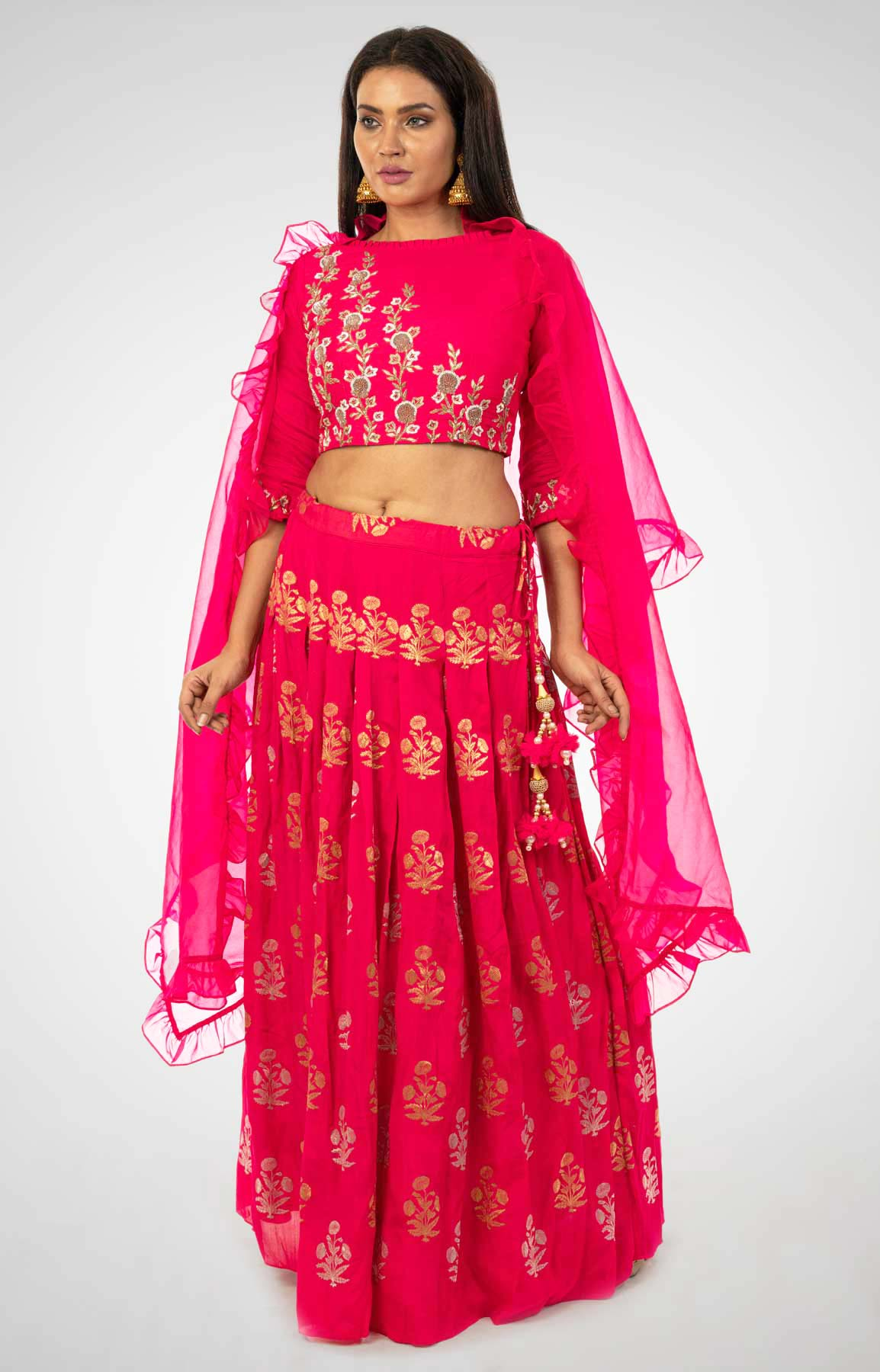 Rani Pink Dupion Silk Crop Top And Skirt With Zardozi Work – Viraaya By Ushnakmals