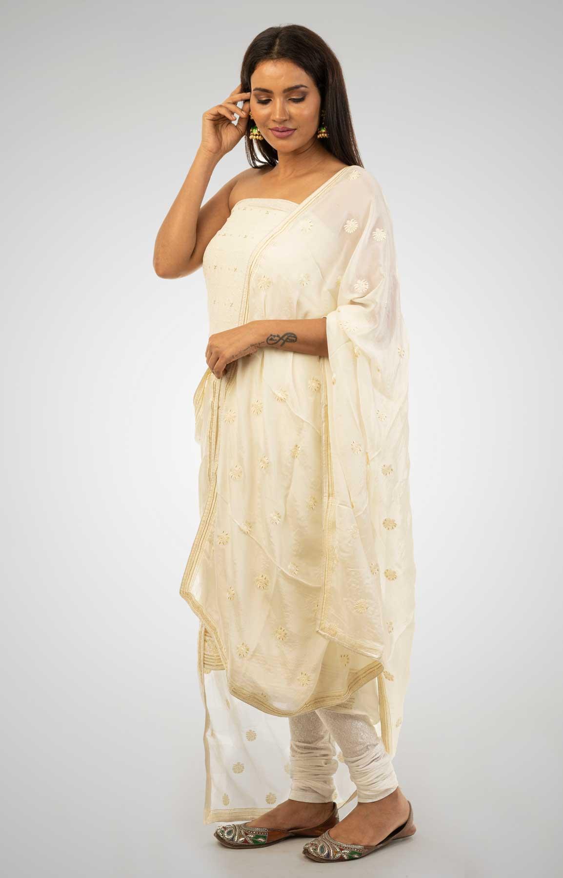 White Crepe Suit Fabric With Resham And Cut Dana Work – Viraaya By Ushnakmals