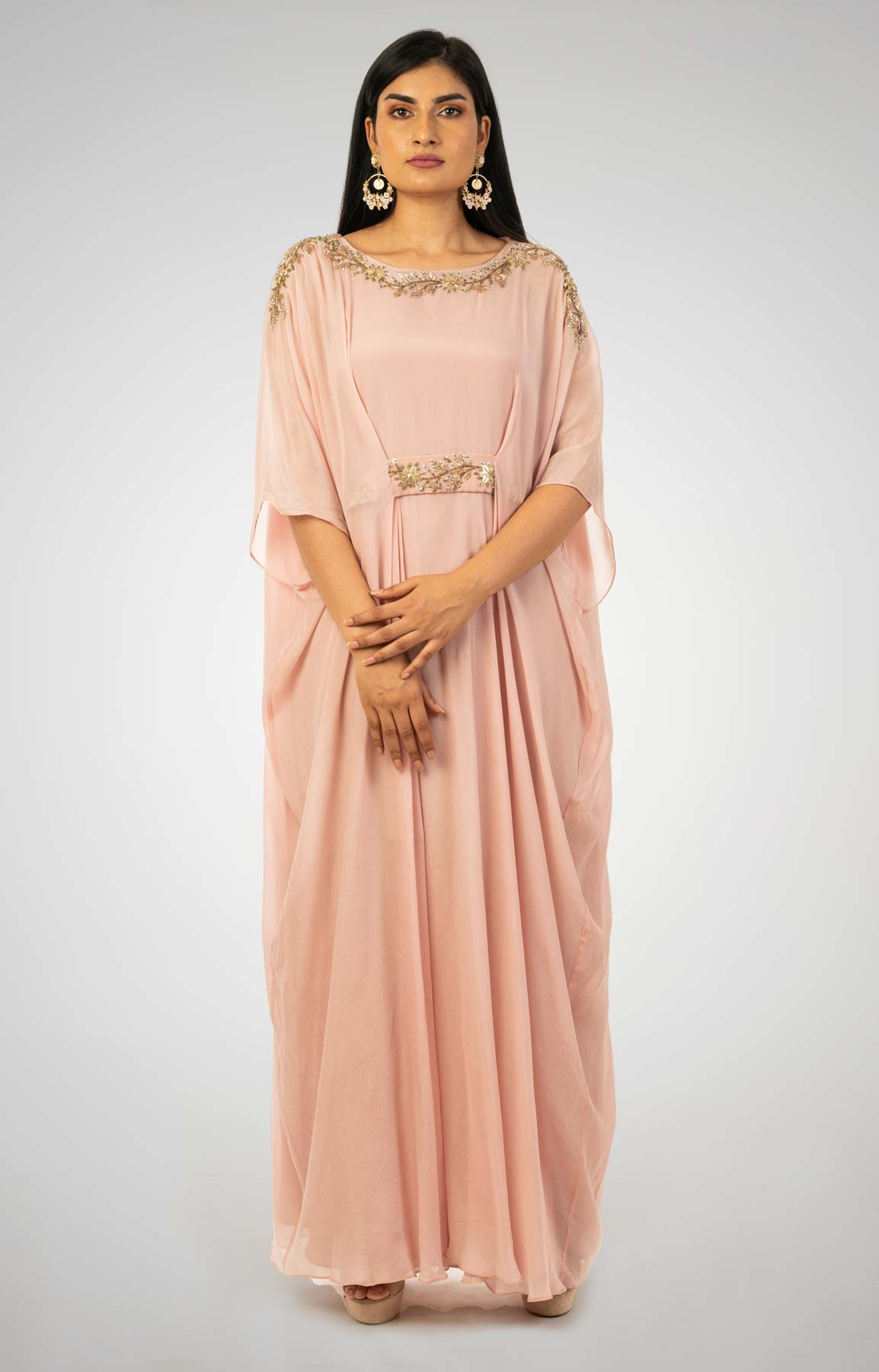 Dusty Pink Crepe Kaftan Embellishment With Zardozi And Sequin Work – Viraaya By Ushnakmals