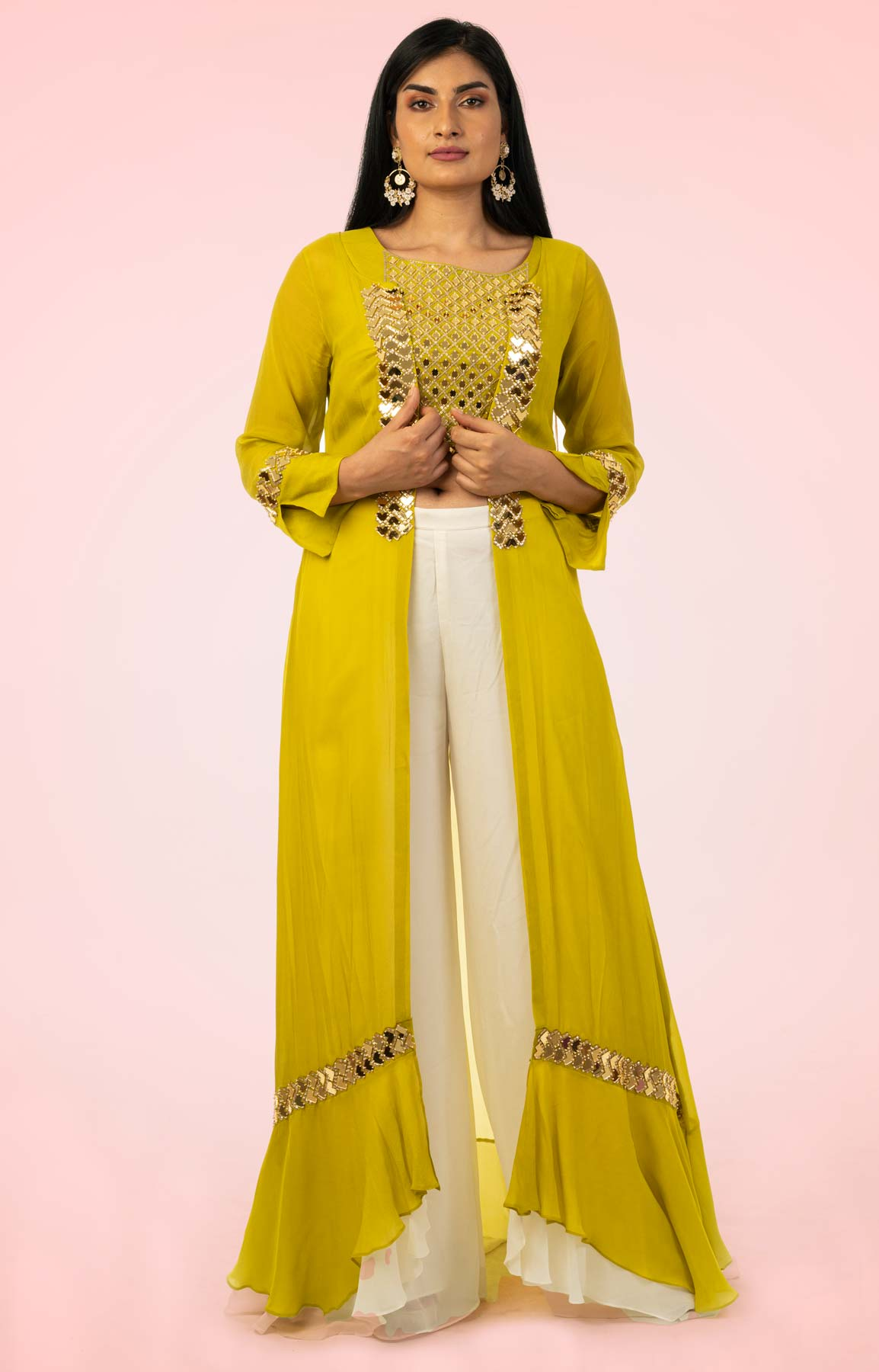 White Crepe Palazzo Suit Teamed With Mirror Work Crop Top and Jacket – Viraaya By Ushnakmals