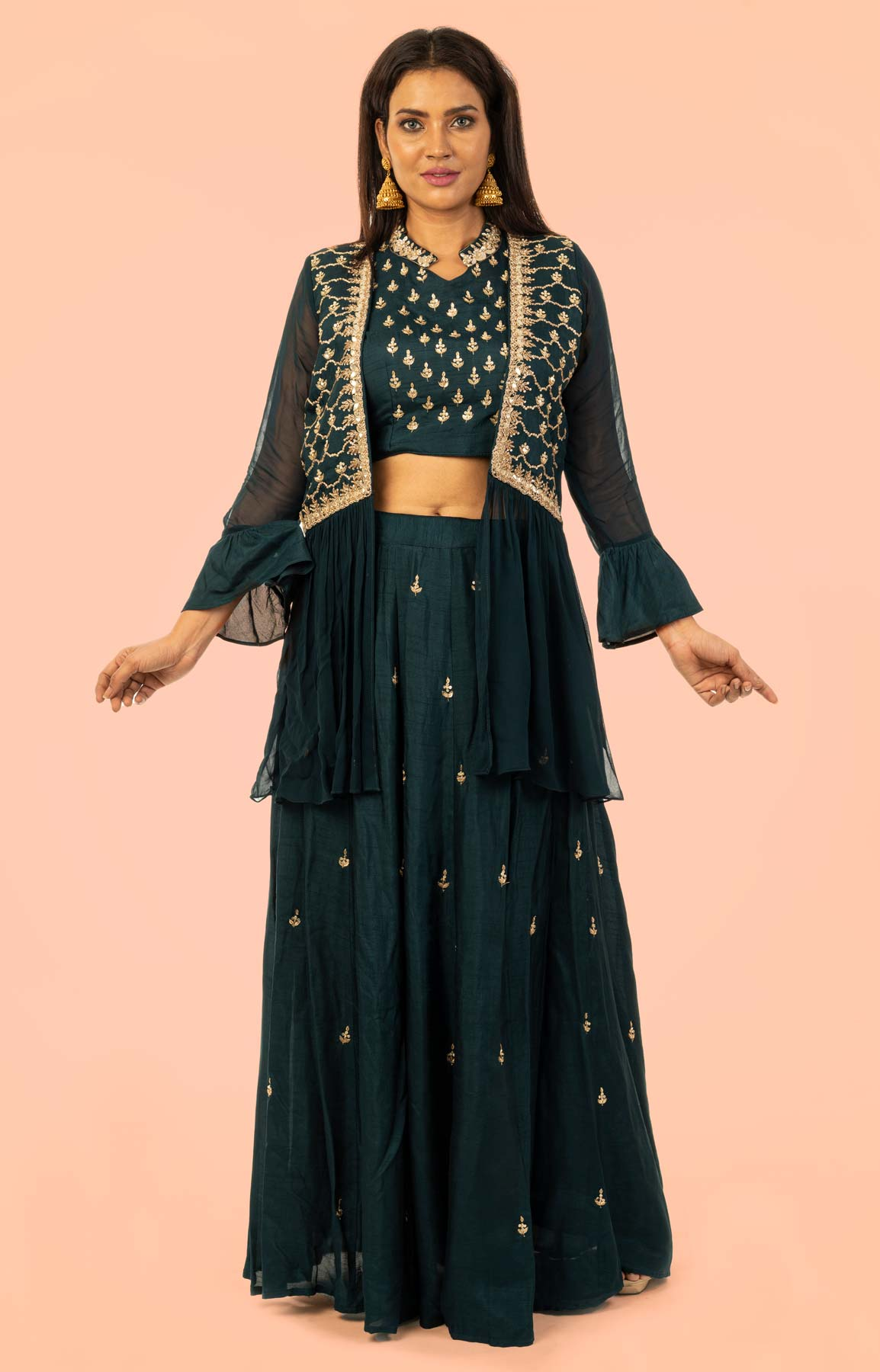 Navy Blue Raw Silk Lehenga With Zari Work – Viraaya By Ushnakmals