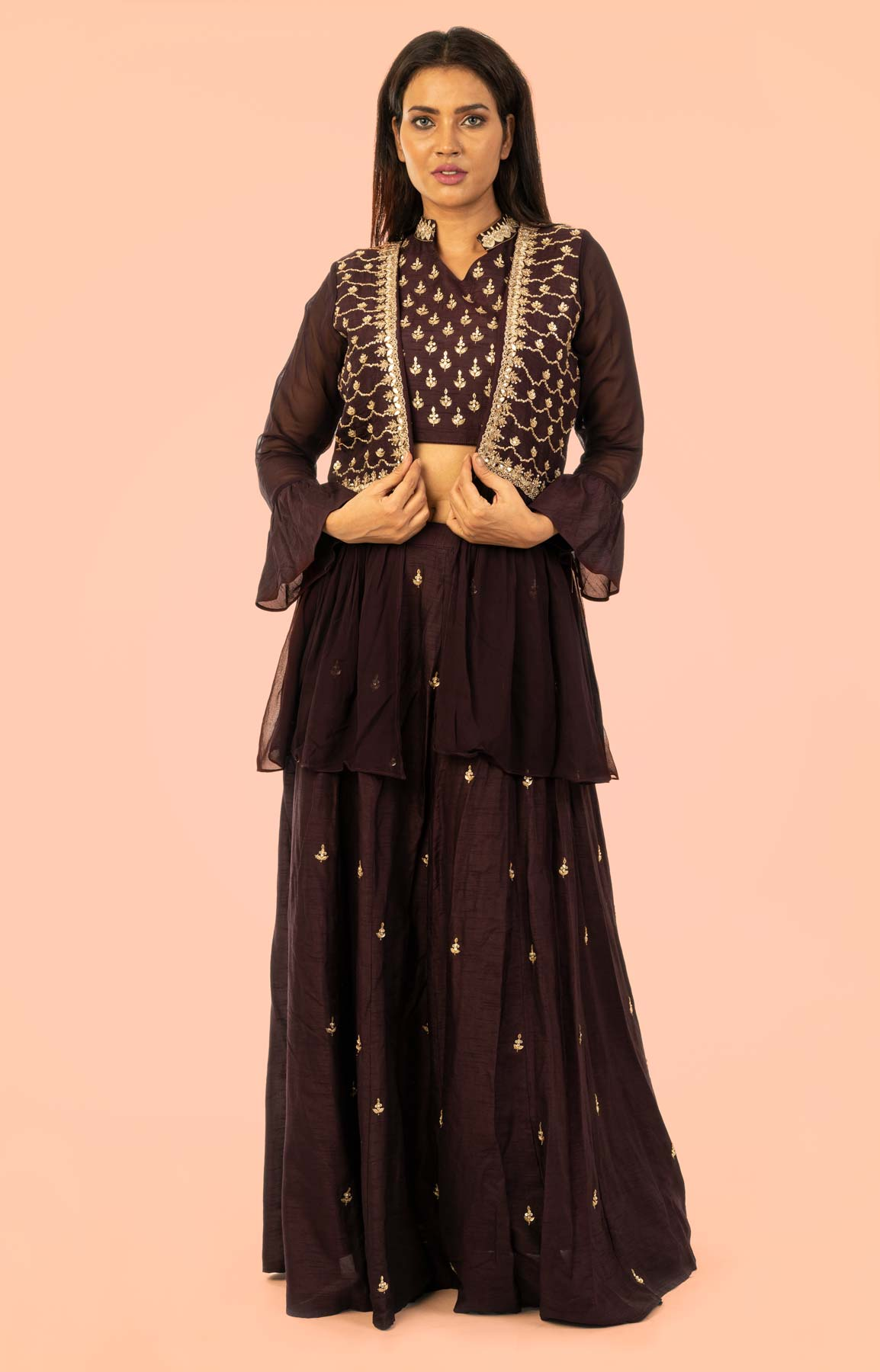 Brown Raw Silk Lehenga With Zari Work – Viraaya By Ushnakmals