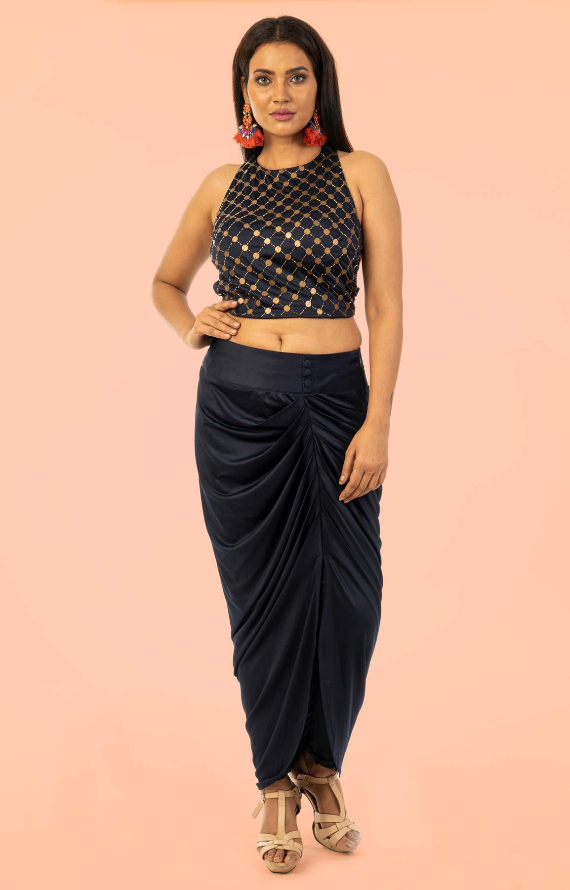 Deep Blue Draped Dhoti Pant Teamed With Sequin Crop Top – Viraaya By Ushnakmals