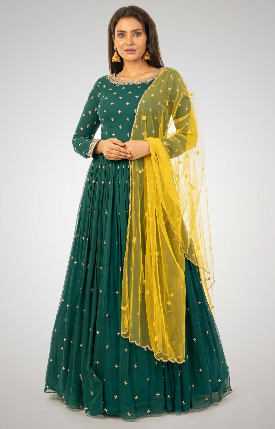 Bottle Green Anarkali Suit With Butti Work Paired with Contrasting Yellow Dupatta – Viraaya By Ushnakmals