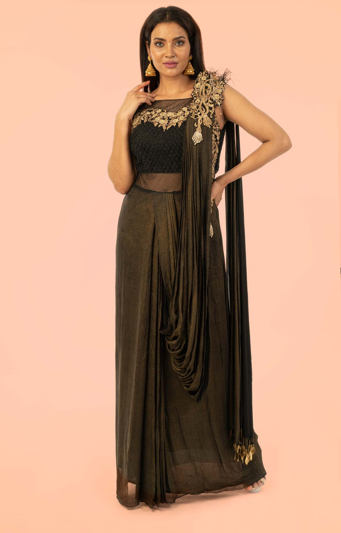Black and Golden Shimmer Gown With Draped Pallu With Cut Dana and Swarovski Work – Viraaya By Ushnakmals