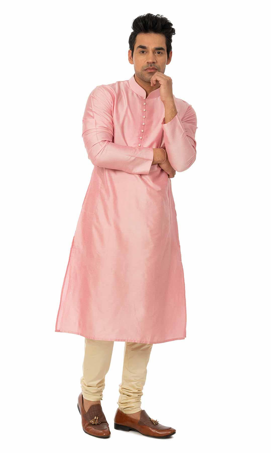 Pink Cotton Silk Kurta Set  – Viraaya By Ushnakmals