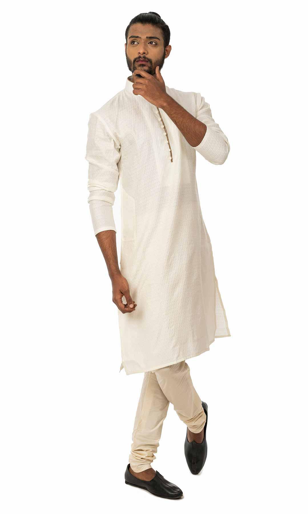 White Cotton Silk Kurta Set  – Viraaya By Ushnakmals