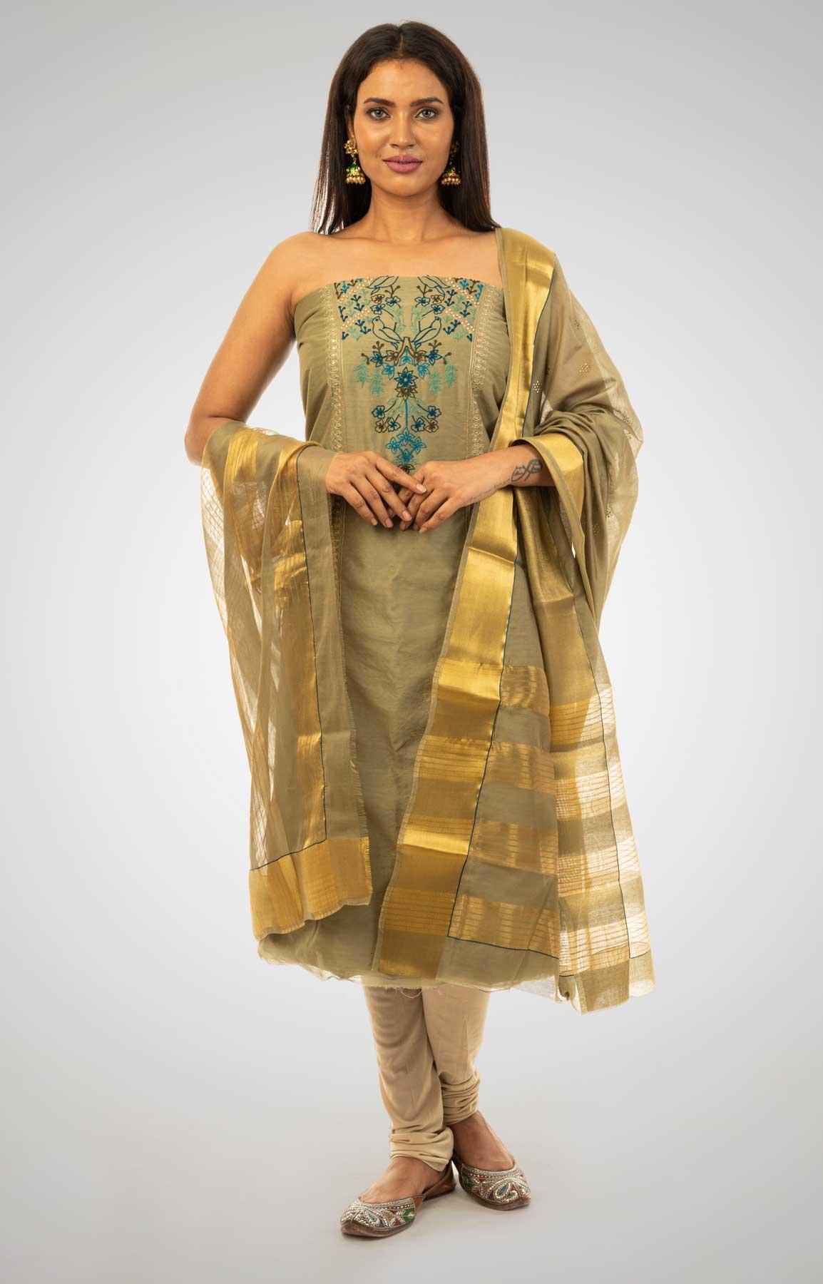 Dark Beige Chanderi Silk Unstitched Suit Fabric With Matching Dupatta – Viraaya By Ushnakmals