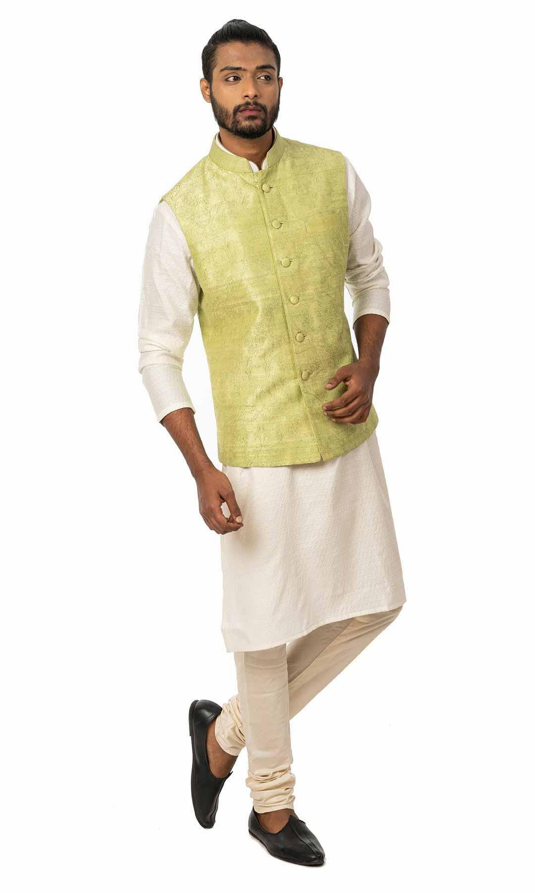White Cotton Silk Kurta Set With Pista Green Nehru Jacket – Viraaya By Ushnakmals